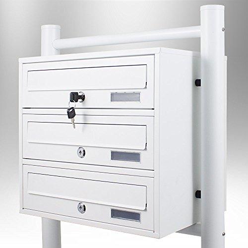 BITUXX/® Stand-Briefkastenanlage Postkasten Letterbox Mailbox mit 3 F/ächer Dunkelgrau Anthrazit
