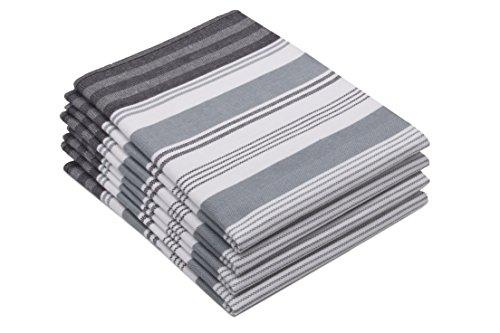 Zollner 4er-Set Geschirrtücher aus 100% Baumwolle, grau-gestreift (weitere verfügbar), 50x70 cm, Serie Line