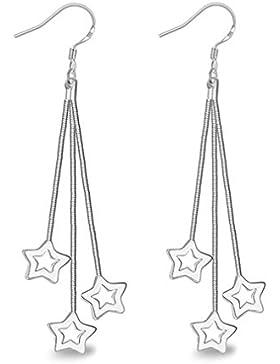 Wiftly Ohrringe Hänger Damen Mädchen 925 Sterling Silber lang 3 Sterne ohrhänger Modeschmuck