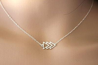 Collier géométrique en argent massif 3 triangles - collier ethnique