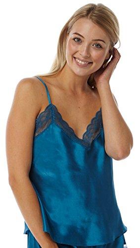 Marlon Ladies Satin Lace Camisole/Vest Teal - Size 10-24