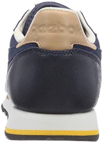 Reebok - Classic Leather Casual, Sneakers da uomo Blu (fx indigo/blk/walnut/paperwht/fiecegold/chlk)