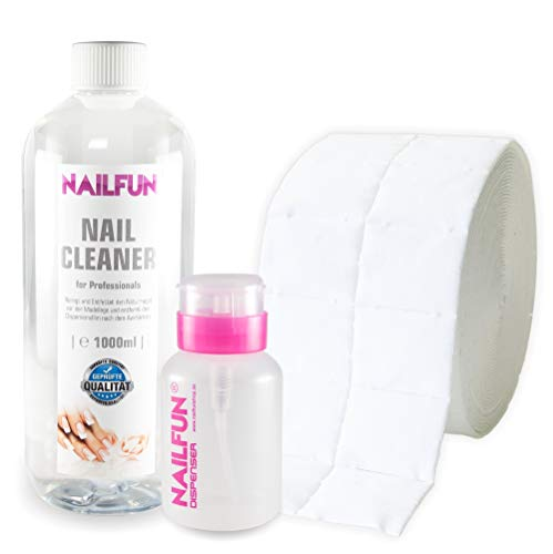Nail Cleaner 1 Liter = 1000ml + 500 Zelletten (1 Rolle) + 1 Pumpflasche / Dispenser 170ml [ 99.9 % Isopropanol kosmetisch ] -