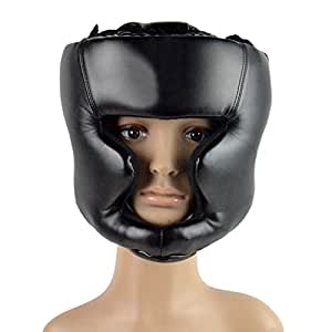 Pixnor Leder Kopfschutz Box Helm geschlossene Boxen Sparring Helm Muay Thai kostenlos Kampf Taekwondo Protector schwarz