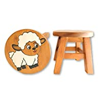 Thai Gifts Childrens Wooden Stool - White Sheep