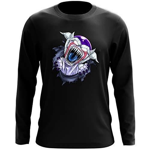 Okiwoki T-Shirt à Manches Longues Noir Dragon Ball Z - Alien parodique Freezer : La Naissance d'un Alien. (Parodie Dragon Ball Z - Alien)