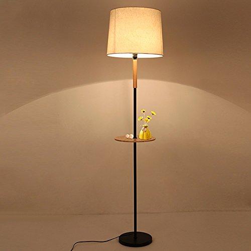 Stehleuchte Moderne Minimalistische Massivholz Stehlampe Mit Ablage Fach Schmiedeeisen Stehleuchte...