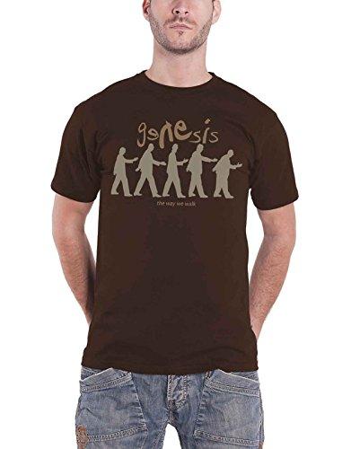 Genesis T Shirt The Way We Walk Band Logo Nue Offiziell Herren Braun (Band Musik T-shirt)