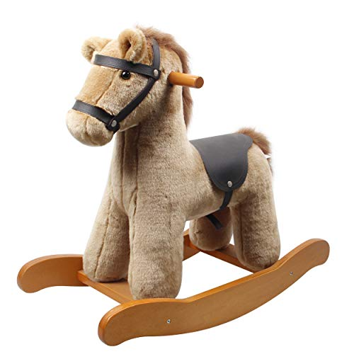 labebe Child Rocking Horse Toy,Brown Knight Horse Rocking Plush for Kid 1-3 Years,Wooden Rocking Horse/Stuffed Animal/Baby Rocker Horse/Outdoor Rocking Toy