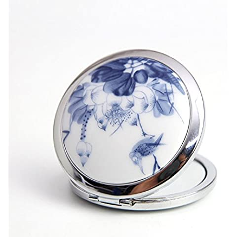 XJoel portatile pieghevole tasca compatto specchio per il trucco metallico retro fiore ordinario paesaggio cinese di altri espansione doppia Blue Bird