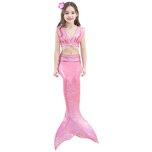 Weq Kinder 3 STÜCKE Meerjungfrau Schwanz Badeanzug, Prinzessin Badebekleidung Bikini Set, Schwimmen Kostüm Für 3-12 Jahre Alte Mädchen (Color : PINK, Size : 140)