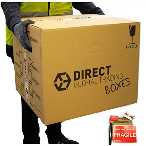 10 Strong Extra Large Cardboard Storage Packing Moving House Boxes Double Walled with Carry Handles and Room List Fragile Tape Marker Pen and 10 Large Fragile Stickers 53cm x 53cm x 41cm 115 Litres