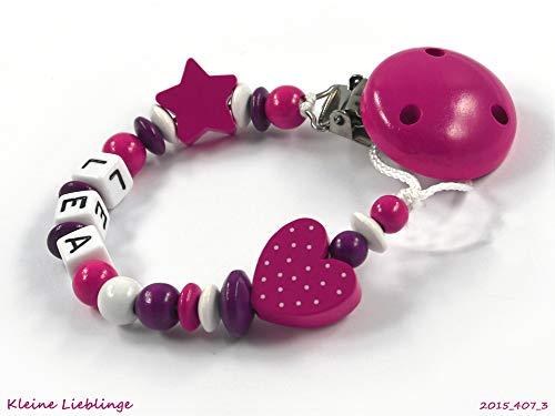 Schnullerkette mit Namen für Mädchen Stern/Herz - dunkelpink, beere, weiß (3 Buchstaben)