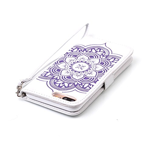 Voguecase® für Apple iPhone 7 hülle,(New York 01) Kunstleder Tasche PU Schutzhülle Tasche Leder Brieftasche Hülle Case Cover + Gratis Universal Eingabestift Diamant/Campanula Blume/Weiß/Lila