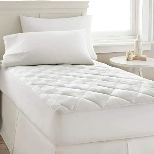100 Pct Baumwolle (PCT T300-100% Baumwolle, Quadrate Dobby Matratzenauflage-Baumwolle, Weiß, King)