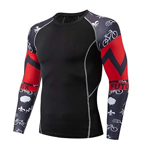 DNOQNHerren Top Long Sleeved Slim Fit T Shirts Laufshirt Langarm Mode Langarm Yoga Fitness Drucken Weichen T-Shirt Top Bluse XXL
