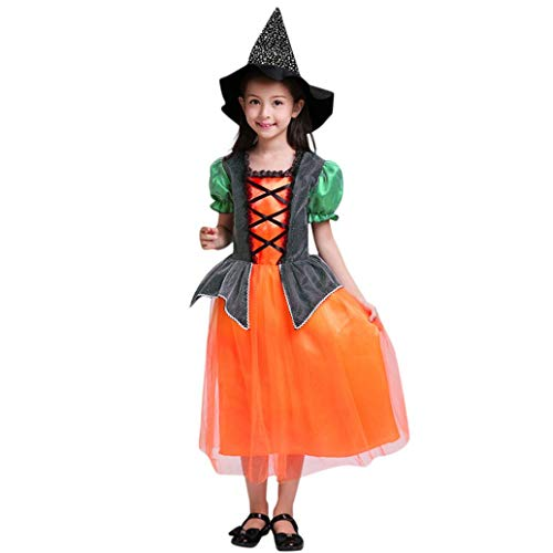 (Halloween Kostüme Kürbis Overalls,Rosennie Kleinkind Kinder Baby Mädchen Halloween Kleidung Kleid Party Kleider + Hut + Tasche Outfits Set Playsuit Abend Kurzarm Ballkleid Faltenrock(Orange))