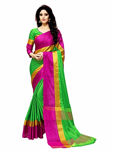 Indian Beauty Women's Cotton Silk Saree(Green ,Free Size)