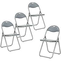 Juego de 4plegable silla de oficina de piel sintética acolchada asiento de comedor gris