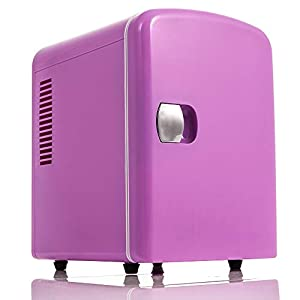 LIVIVO 4L Mini Fridge Cooler. 12V/240V Dual Input, Silent Thermoelectric Running (Pink)