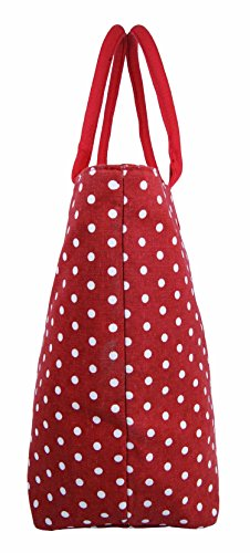 Da donna grande Borsa Shopper Borsa da spiaggia in tela a righe leggero Borsa a tracolla Holiday multicolore Polka Dot Black large Polka Dot Red