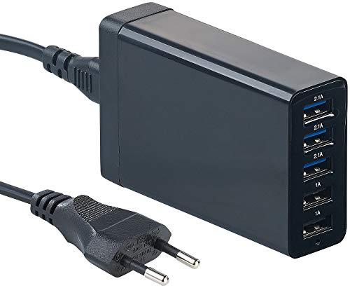 reVolt Ladegeräte USB: 5-Port-USB-Netzteil mit dynamischer Ladestrom-Anpassung, bis 8 A, 40 W (USB Mehrfach Ladegerät) Pearl Power Station