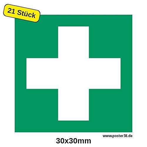 """Aufkleber""""Erste Hilfe"""", DIN ISO 7010, Premiumqualität 30x30 mm (21 Stück)"""