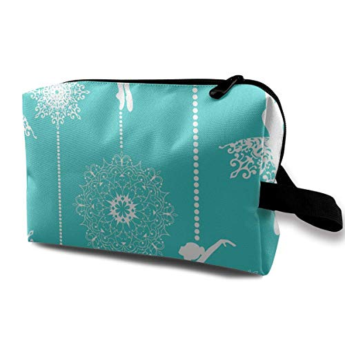 Travel Cosmetic Bag Elegant Ballet Dancers Graphics Lady Make-up Organizer Clutch Bag with Zipper Toiletry Storage Pouch Plain Womens Ballet Flats