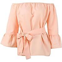 Babysbreath La blusa de gasa del verano atractiva de la camisa del hombro ceñió la manga de la llamarada Las camisetas sólidas de las mujeres T-shirt Rosado S