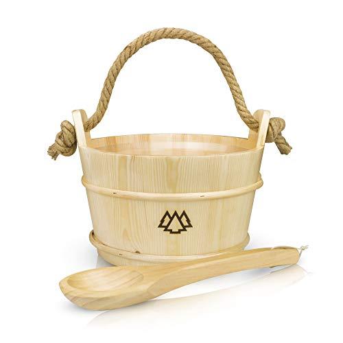 Sauna Eimer mit Kelle aus 100% nordischer Fichte + Einsatz, Hanftrageseil & Gratis E-Book - Wellness Komplett Paket für deine Heimsauna - Hochwertiges Aufguss Zubehör - 60 Tage risikolos testen