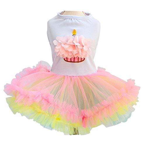 7°MR Nettes Hundetutu-Kleid für Mädchen-Hundewelpen-Prinzessin Dress Colorful Lace Skirt Pet Kleidung Cupcake Apparel für Doggy XS S M L XL (Color : WHITE, Size : S)