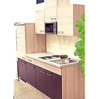 SINGLEKÜCHE Pantryküche Aubergine Akazie Mit Kühlschrank Spüle Mikrowelle  Küchenblock ...