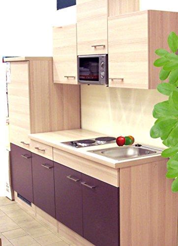SINGLEKÜCHE Pantryküche Aubergine Akazie mit Kühlschrank Spüle Mikrowelle Küchenblock 210 cm