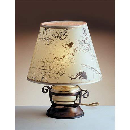 Maritime Tischleuchte Messing Holz Pergament Papier H:34cm Handarbeit antikes Design Nachttischlampe -