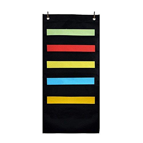 Daxoon Wand-Organizer mit 5 Taschen, zum Aufhängen, 10 Taschen, zum Organisieren von Aufgaben, Akten,Schwarz schwarz Schwarz 5 Letter