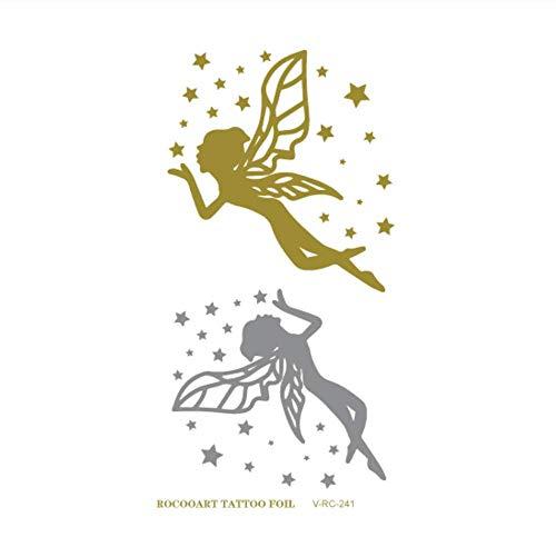 Sdefgh adesivo tatuaggio decorazioni per bambini ragazzi ragazzi piccole dimensioni oro e argento temporary s, metallic shiny gold flash body butterfly flower t