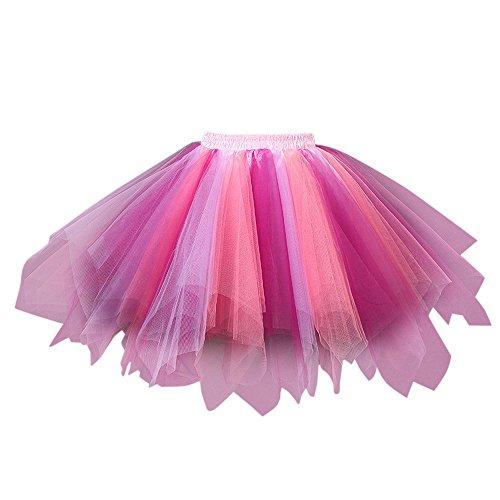 AIni Damen Tüllrock Mehrfarbig Petticoat Tutu Unterrock Kurz Ballett Tanzkleid Ballkleid Abendkleid Bubble Rock für Rockabilly Kleid