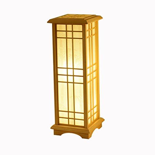 XUANLAN Japanischen Stil Holz Schreibtischlampe Stehlampe, Indoor Stehlampe für Restaurant Wohnzimmer Schlafzimmer, hochwertige E27 Massivholz Stehlampen (Größe : M-24 * 24 * 60CM) -