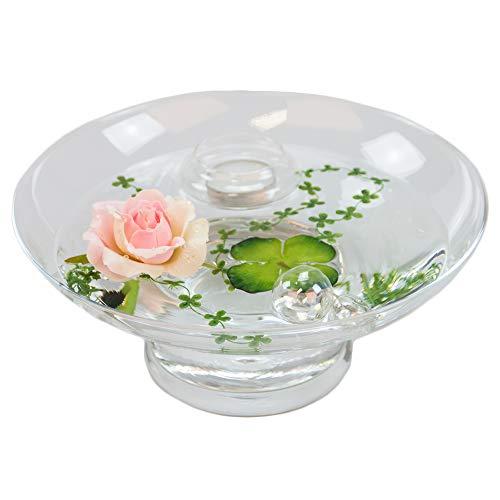 Glaskönig Runde Glas-Schale Hollow Höhe 10cm ø 25cm. Flache Dekoschale rund mit Dekorations Set Rose rosè Dekoglas Glasgefäß mit ausgefallener Deko für Ihre Deko Ideen. Glasdeko Glasschalen
