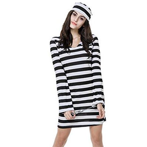 Sexy Erwachsene Kostüm Für Cop Lady - KINDOYO Womens Adult Sexy Convict Prisoner Fancy Dress Kostüm Cops und weibliche Gefangene Halloween Party Outfit (Schwarz-Weiß-Streifen)