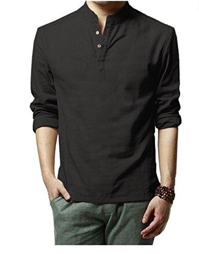 HOEREV Shirts pour hommes occasionnels à manches longues