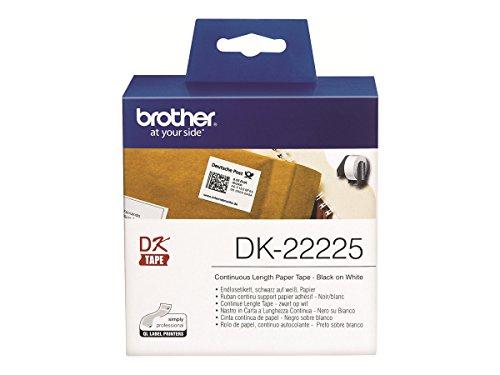 Brother DK22225 - Cinta continua de papel, etiqueta blanca y escritura negra