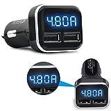 Nysunshine, voltmetro e amperometro Digitale a LED con Doppia Porta USB, per Caricabatterie da Auto, per Ricarica Rapida, per iPhone e Samsung Bianco