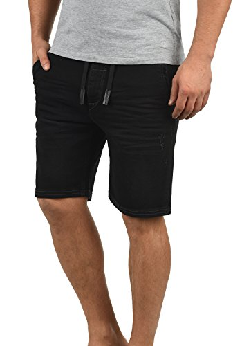 Blend Bartels Herren Jeans Shorts Jogger-Denim Kurze Hose Mit Elastischem Bund Und Destroyed-Optik Aus Stretch-Material Slim Fit, Größe:L, Farbe:Denim Black (76204) (29 X Herren 38 Jeans)