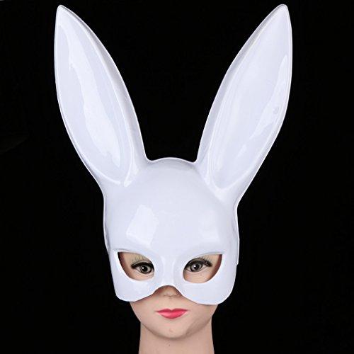 CJJC Kaninchen Maske, Mädchen Persönlichkeit Kreative Halloween Prom Bar Party Bunny Ohrmasken, Requisiten Zubehör,White