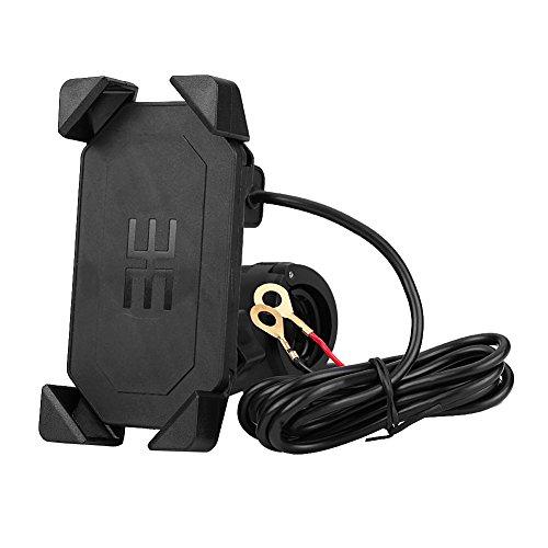 2 in 1 Motorradhalter Fahrrad Handyhalterung tragbarer Motorradlenker Handy GPS Halterung USB Ladegerät 360 ° verstellbar Universal für 4,7 \'\' -6 \'\' Handy
