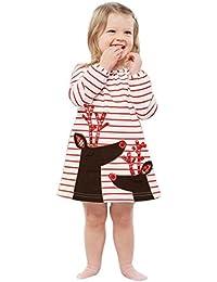 K-youth® Baratas Bebe Niño Ropa Bebe Niña Invierno Navidad Venado Rayas Manga Larga Vestido