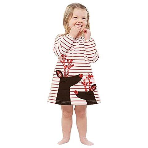 Kangrunmy Enfants BéBé Fille Hiver Automne VêTements Fille Cerf Imprimé Robe Pas Cher Coton Manteau Chaud Veste Longue Manches Blouson Mignon Barboteuses Costume Pour Enfant 0 à 6 Ans Blanc (1-2 ans)
