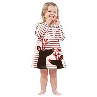 K-youth® Bebe Niño Ropa Bebe Niña Invierno Navidad Venado Rayas Manga Larga Vestido