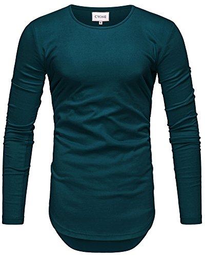 Crone Herren Langarm Shirt Longsleeve Slim Fit T-Shirt Leicht Oversize Basic Sweatshirt in vielen Farben (L, Night Blue) -